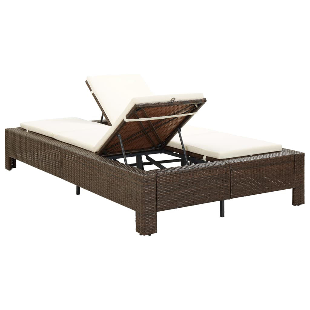 Picture of Outdoor 2-Person Sunbed Brown