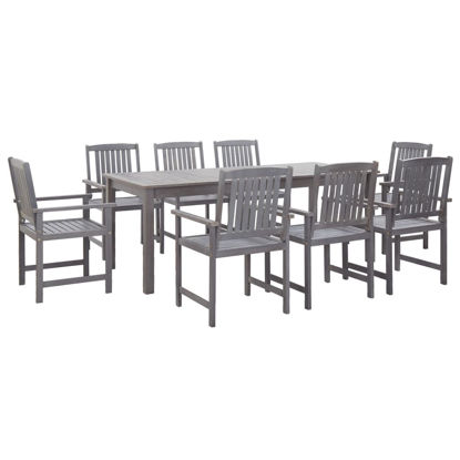 Picture of Outdoor Dining Set Gray 9 Pc