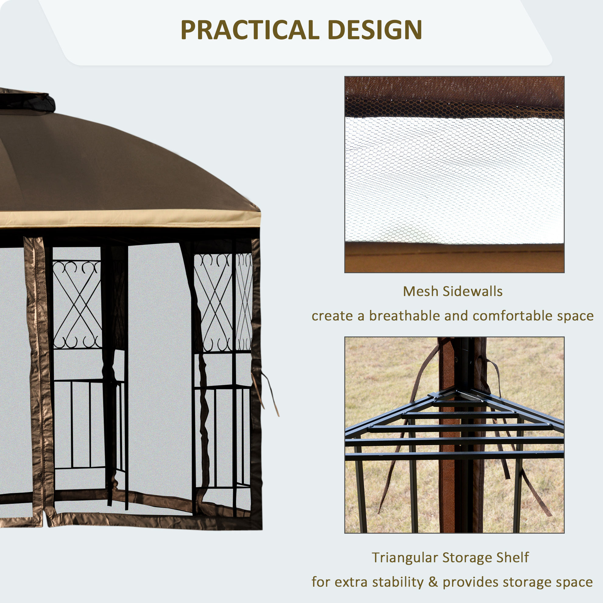 """Picture of Outdoor 10'x10"""" Gazebo - Brown"""