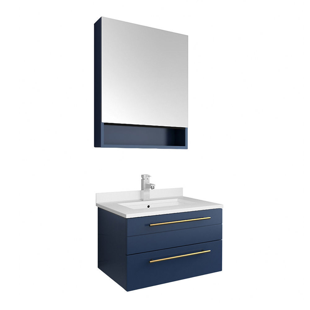 """Picture of Lucera 24"""" Royal Blue Wall Hung Undermount Sink Modern Bathroom Vanity w/ Medicine Cabinet"""
