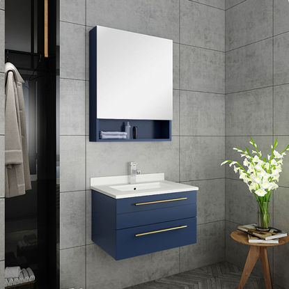 "Picture of Lucera 24"" Royal Blue Wall Hung Undermount Sink Modern Bathroom Vanity w/ Medicine Cabinet"