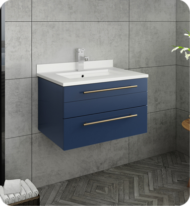"Picture of Lucera 24"" Royal Blue Wall Hung Modern Bathroom Cabinet w/ Top & Undermount Sink"