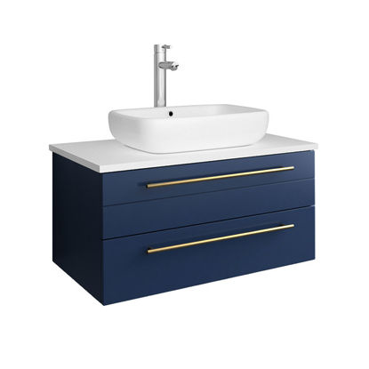 "Picture of Lucera 30"" Royal Blue Wall Hung Modern Bathroom Cabinet w/ Top & Vessel Sink"