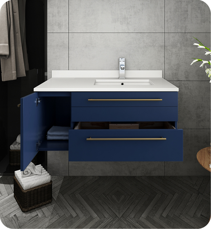 """Picture of Lucera 36"""" Royal Blue Wall Hung Modern Bathroom Cabinet w/ Top & Undermount Sink - Right Version"""