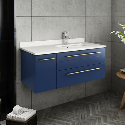 "Picture of Lucera 36"" Royal Blue Wall Hung Modern Bathroom Cabinet w/ Top & Undermount Sink - Right Version"
