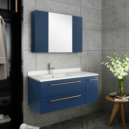 "Picture of Lucera 36"" Royal Blue Wall Hung Undermount Sink Modern Bathroom Vanity w/ Medicine Cabinet - Left Version"