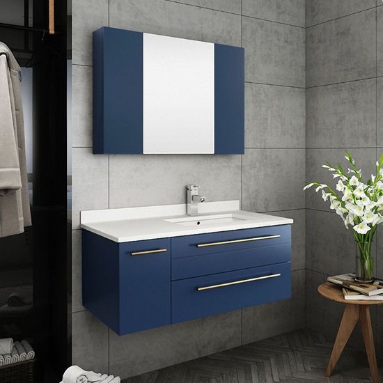 """Picture of Lucera 36"""" Royal Blue Wall Hung Undermount Sink Modern Bathroom Vanity w/ Medicine Cabinet - Right Version"""
