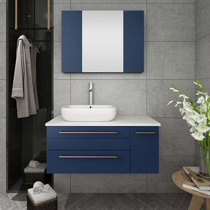 "Picture of Lucera 36"" Royal Blue Wall Hung Vessel Sink Modern Bathroom Vanity w/ Medicine Cabinet - Left Version"