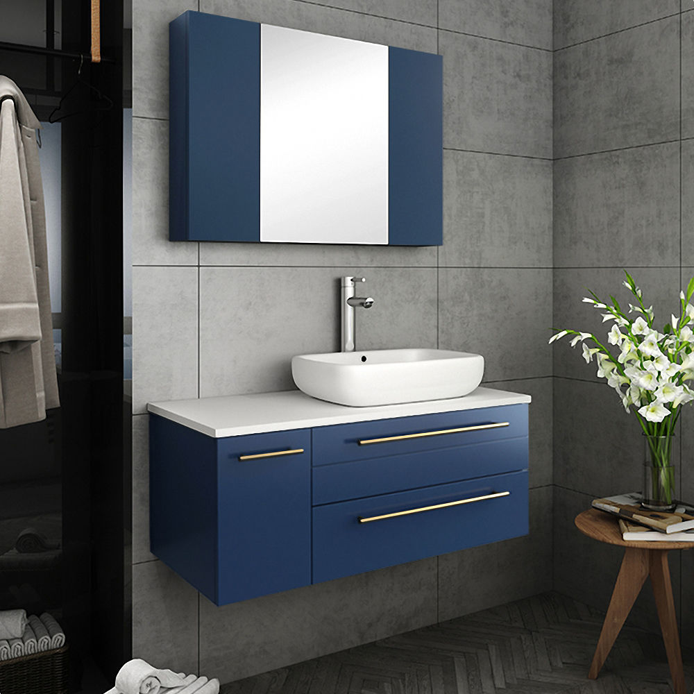 """Picture of Lucera 36"""" Royal Blue Wall Hung Vessel Sink Modern Bathroom Vanity w/ Medicine Cabinet - Right Version"""