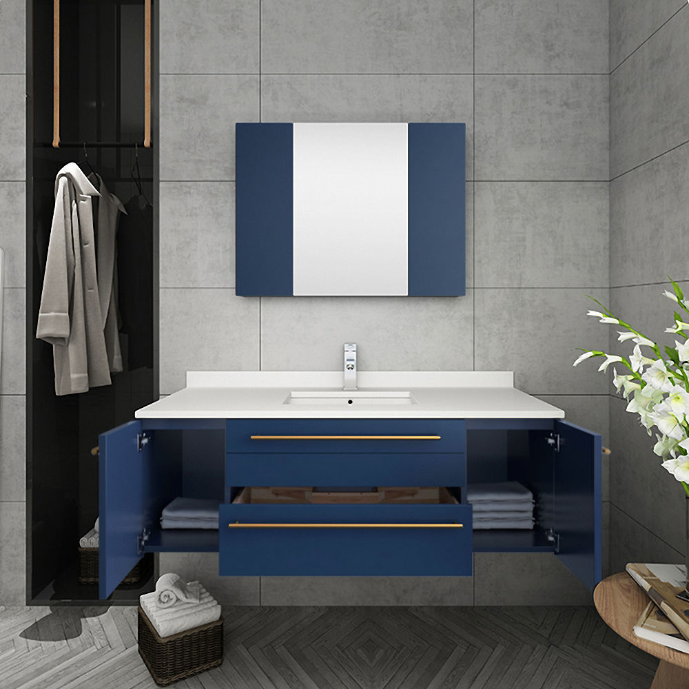 """Picture of Lucera 48"""" Royal Blue Wall Hung Undermount Sink Modern Bathroom Vanity w/ Medicine Cabinet"""