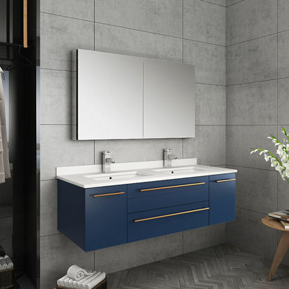 "Picture of Lucera 48"" Royal Blue Wall Hung Double Undermount Sink Modern Bathroom Vanity w/ Medicine Cabinet"