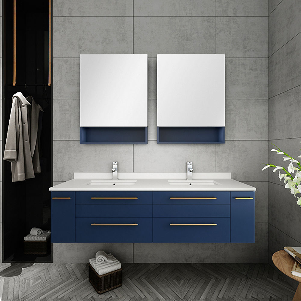 "Picture of Lucera 60"" Royal Blue Wall Hung Double Undermount Sink Modern Bathroom Vanity w/ Medicine Cabinets"