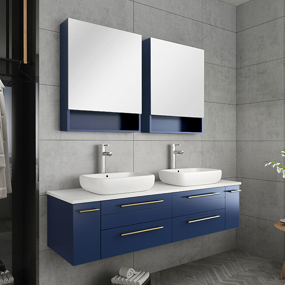"""Picture of Lucera 60"""" Royal Blue Wall Hung Double Vessel Sink Modern Bathroom Vanity w/ Medicine Cabinets"""