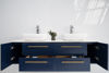 "Picture of Lucera 72"" Royal Blue Wall Hung Double Vessel Sink Modern Bathroom Vanity w/ Medicine Cabinets"