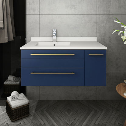 "Picture of Lucera 36"" Royal Blue Wall Hung Modern Bathroom Cabinet w/ Top & Undermount Sink - Left Version"