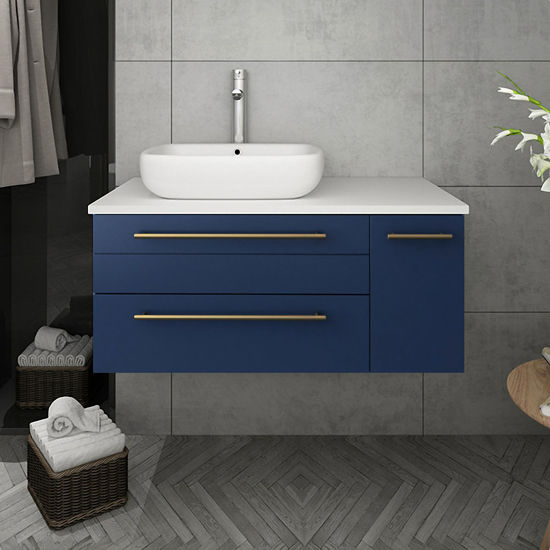 """Picture of Lucera 36"""" Royal Blue Wall Hung Modern Bathroom Cabinet w/ Top & Vessel Sink - Left Version"""