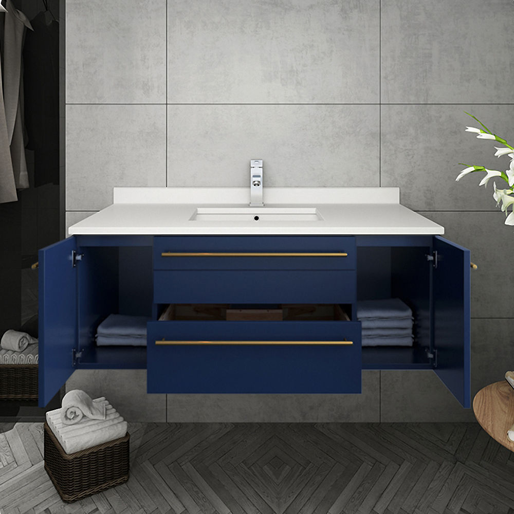 "Picture of Lucera 42"" Royal Blue Wall Hung Modern Bathroom Cabinet w/ Top & Undermount Sink"