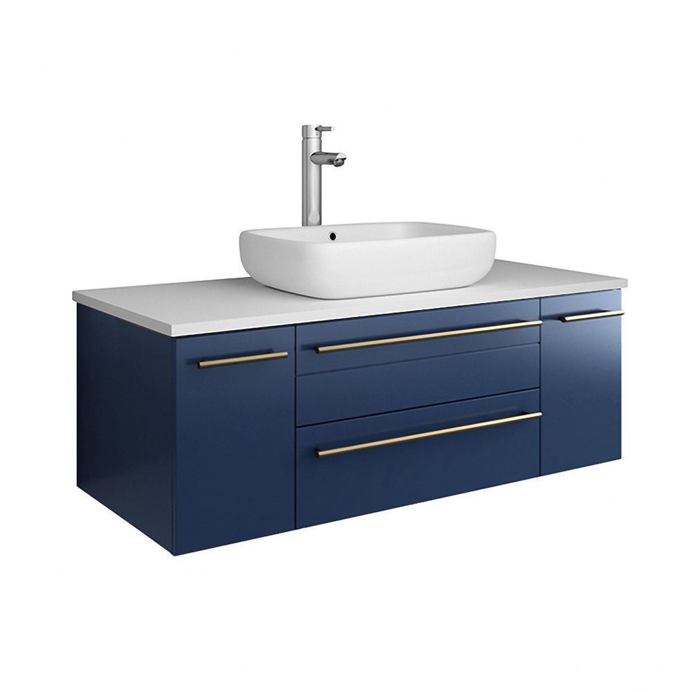 """Picture of Lucera 42"""" Royal Blue Wall Hung Modern Bathroom Cabinet w/ Top & Vessel Sink"""