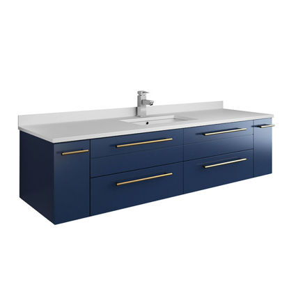 "Picture of Lucera 60"" Royal Blue Wall Hung Modern Bathroom Cabinet w/ Top & Single Undermount Sink"