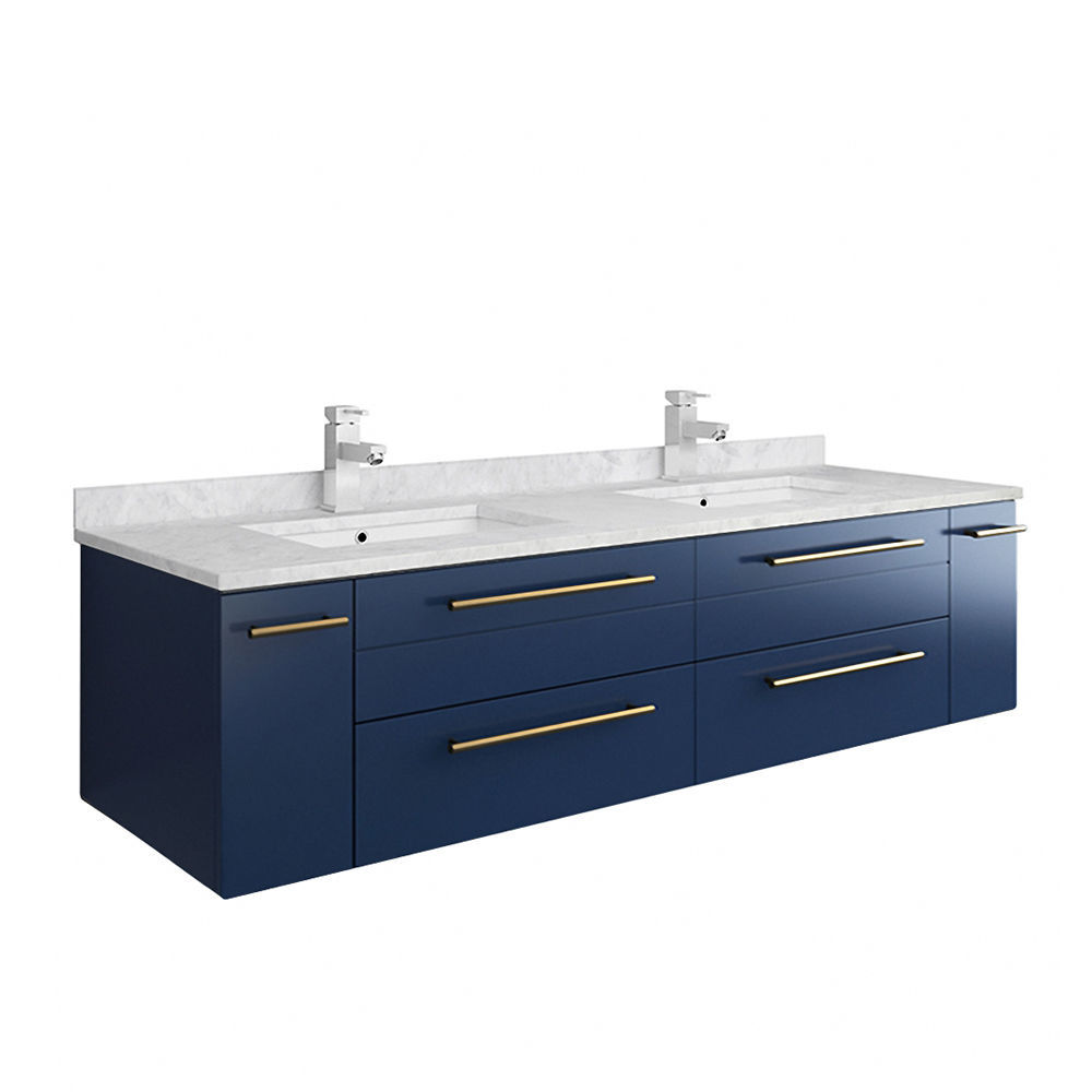 """Picture of Lucera 60"""" Royal Blue Wall Hung Modern Bathroom Cabinet w/ Top & Double Undermount Sinks"""