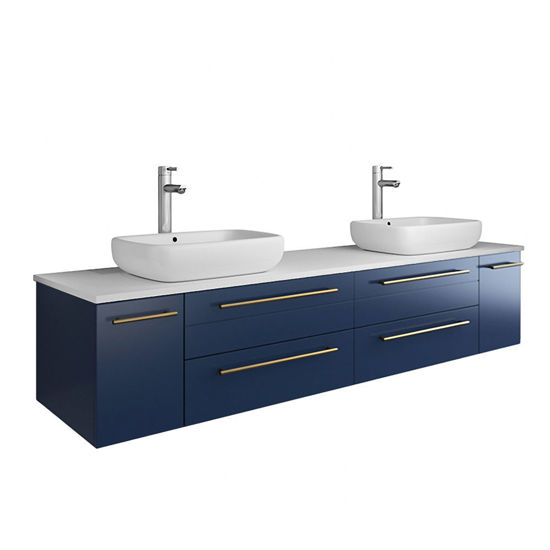 """Picture of Lucera 72"""" Royal Blue Wall Hung Modern Bathroom Cabinet w/ Top & Double Vessel Sinks"""