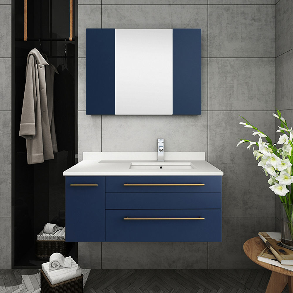 "Picture of Lucera 36"" Royal Blue Wall Hung Undermount Sink Modern Bathroom Cabinet - Right Version"