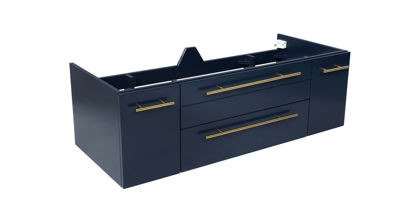 "Picture of Lucera 48"" Royal Blue Wall Hung Double Undermount Sink Modern Bathroom Cabinet"
