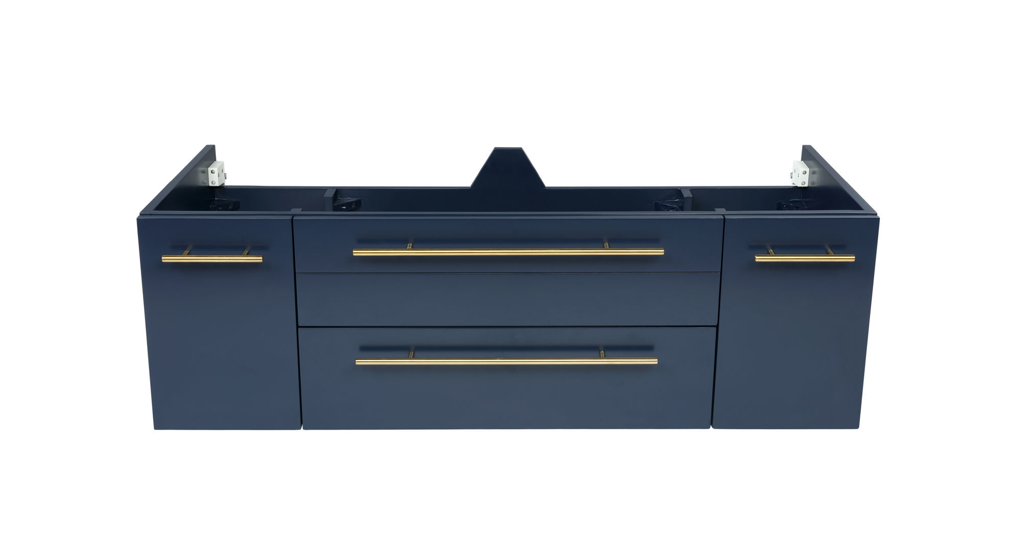 """Picture of Lucera 48"""" Royal Blue Wall Hung Double Undermount Sink Modern Bathroom Cabinet"""