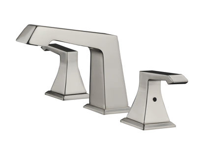 "Picture of 3 Hole 8"" Widespread Bathroom Faucet - Brushed Nickel"