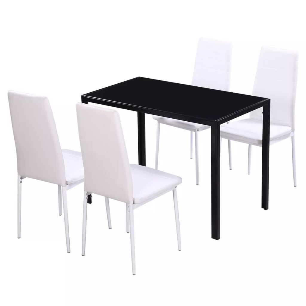 Picture of Kitchen Dining Set - 5pc Black and White