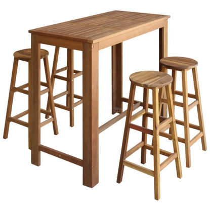 Picture of Wooden Bar Table and Stools - 5pc