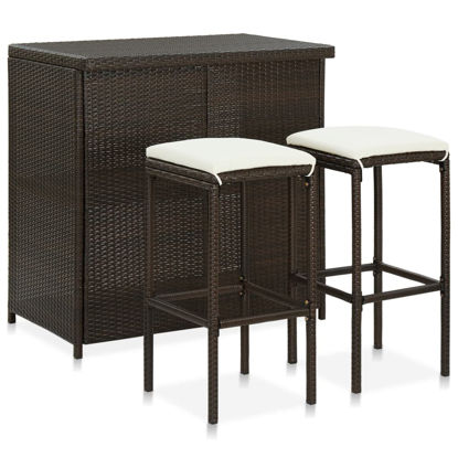 Picture of Outdoor Bar Set - 3pc Brown