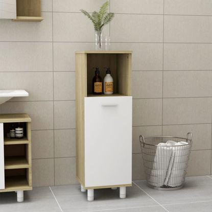 "Picture of 11"" Bathroom Cabinet - White and Sonoma Oak"