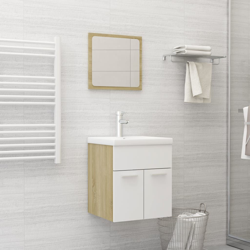 """Picture of 16"""" Bathroom Furniture Set with Mirror - White and Sonoma Oak"""
