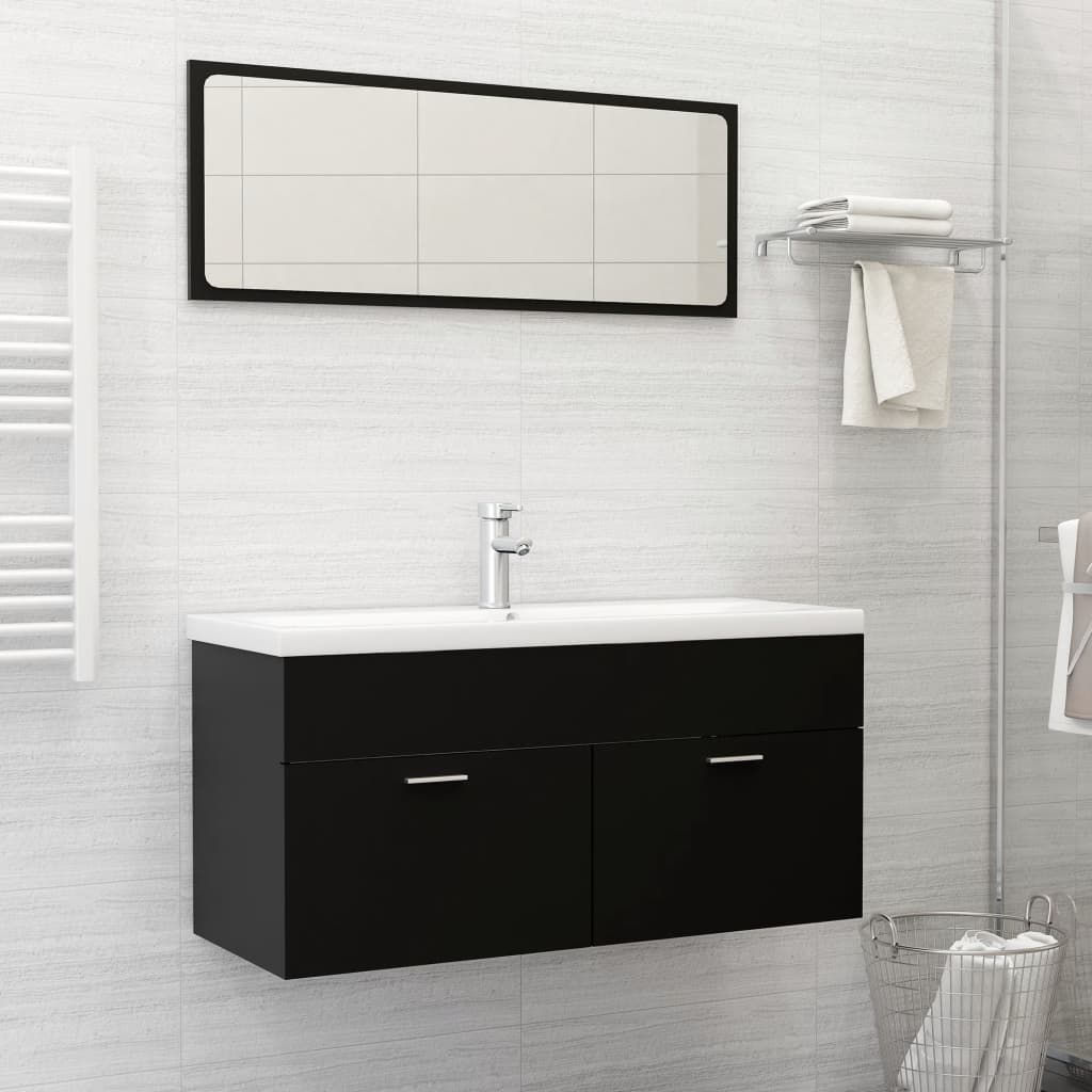"""Picture of 39"""" Bathroom Furniture Set with Mirror - Black"""