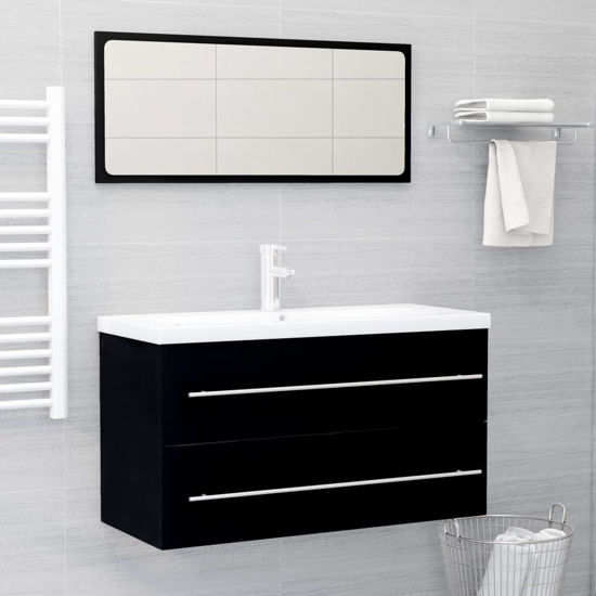 """Picture of 35"""" Bathroom Furniture Set with Mirror - Black"""