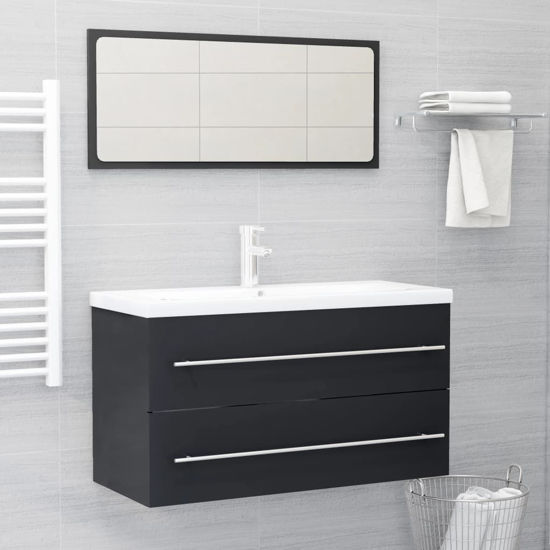 """Picture of 35"""" Bathroom Sink Cabinet Set with Mirror - Gray"""