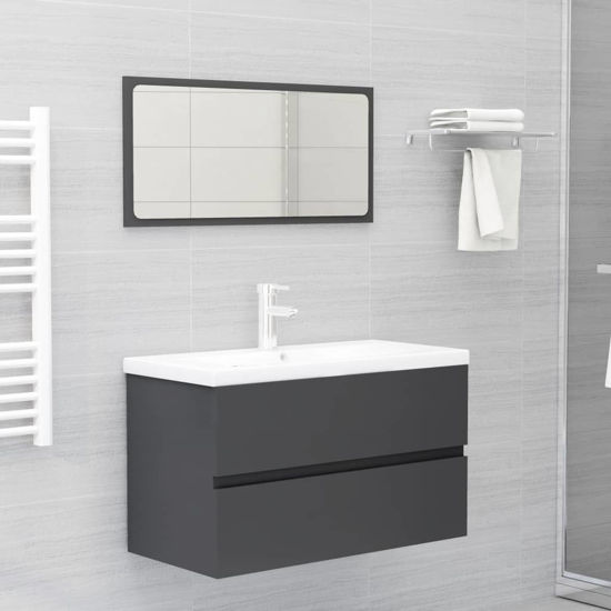 """Picture of 31"""" Bathroom Furniture Set with Mirror - Gray"""
