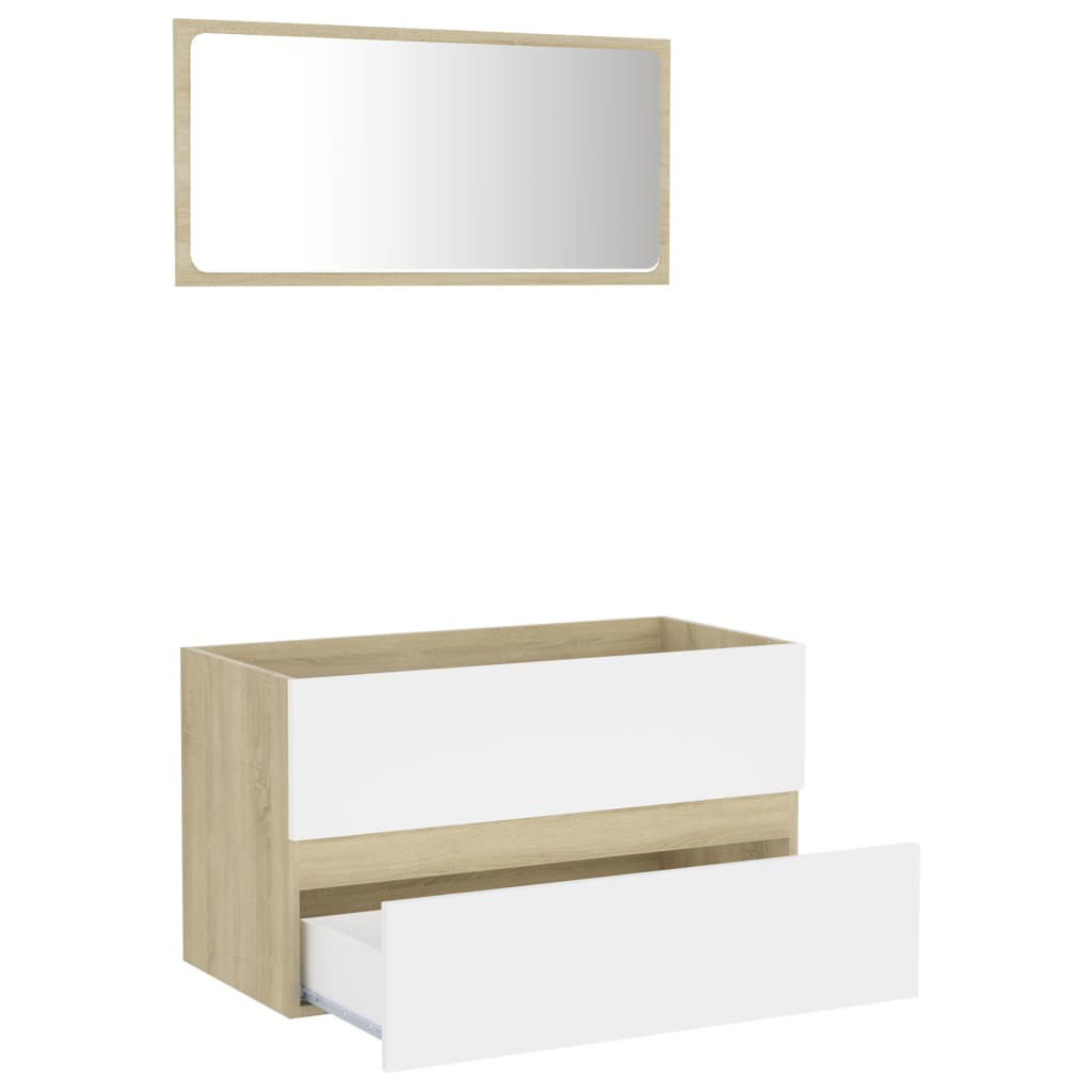 """Picture of 31"""" Bathroom Furniture Set with Mirror - White and Sonoma Oak"""