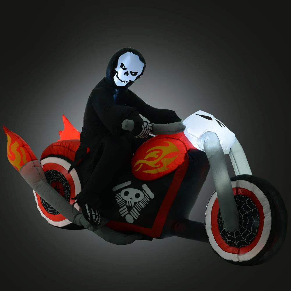 Picture of Inflatable Grim Reaper on Motorcycle with LED Light - 7.5'