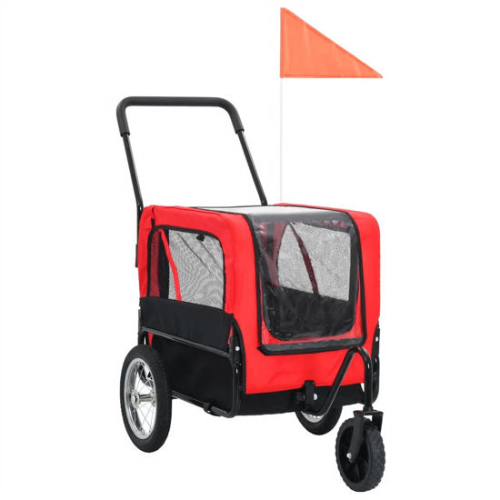 Picture of 2-in-1 Pet Bike Trailer And Jogging Stroller Red and Black