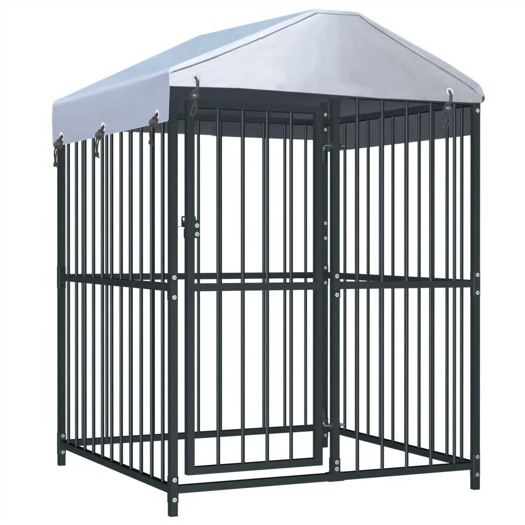 Picture of Outdoor Dog Kennel with Roof - 4'