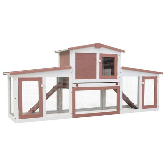 Picture of Outdoor Large Rabbit Hutch - Brown and White Wood